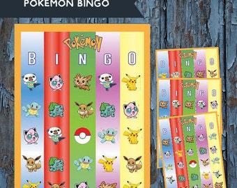 Pokemon, Pokemon birthday, Pokemon party, Pokemon game, Pikachu, Pokemon Bingo, Pokemon gift,  gift, Pokemon board game, Pokemon Printable
