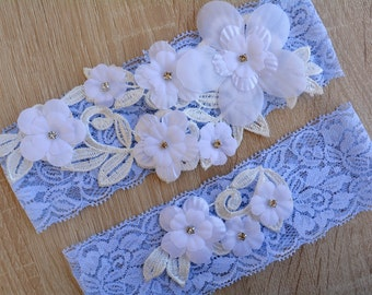 Wedding Garter, Blue Garter, Wedding Garter Set, Blue Garter Set, White Garter, Rose Wedding Garter, Lace Garter, Garter Blue, Bridal Garter