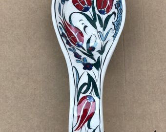"Hand made Ceramic Turkish Spoon Rest  ( Long  8"" inch , Wide 3""inch , Deep 1,4"" inch Diameter"