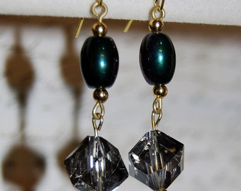 Black and acrylic crystal earrings