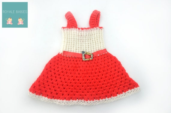 Christmas Baby frock, Red and white, Crochet Baby Dress, Infant Girl Clothes,Baby Girl Apparel, Newborn Frock, Baby Dress, red and white.