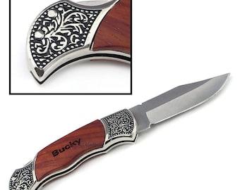 Custom Engraved Rosewood Decogrip Hunting Knife, Pocket Knife,