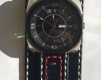 Man Leather Watchband Black