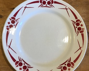 Pretty set of 6 White and Red French side plates and bowl.