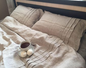 LINEN BEDDING SET, Linen Duvet Cover and two Pillowcases with 3 vertical folds, Linen Bedding, Queen/King/Full Size,100% Linen,Organic Gift.