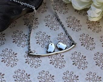 Two little birds, birds on a wire, birds on a branch, silver bird necklace, love birds, simple crossbar necklace, bird jewelry