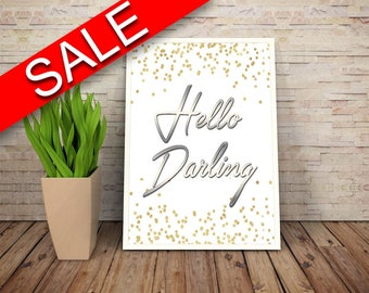 Wall Art Hello Darling Digital Print Hello Darling Poster Art Hello Darling Wall Art Print Hello Darling  Wall Decor Hello Darling wife gift