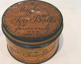 Vintage Mayfair Tea Balls Orange Pekoe India Ceylon Advertising Tin - The Quaker Maid Co. circa 1930s - FREE SHIPPING!