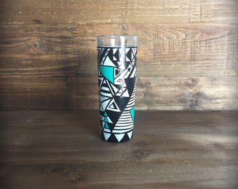 Fun hand painted aztec shapes shot glass