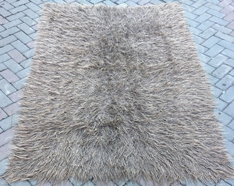 Vintage shaggy tulu gray color natural tulu hand made 150x218cm---59.06x85.83inc