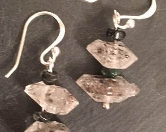 Herkimer Diamond and Emerald Earrings