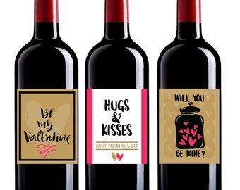 Personalized Valentine Label, Valentine Wine Label, Valentine Label, Valentine's Day Gift, Valentine Gift, Custom Wine, Valentine Gift Pack
