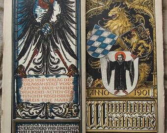 Vintage Art Woodcut Calendar 1901