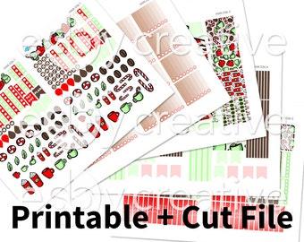 Peppermint Mocha Theme - Weekly Sticker Kit Printable for Erin Condren Horizontal - HWK-036 - INSTANT DOWNLOAD