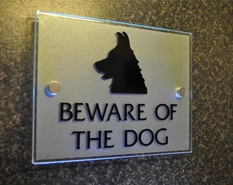 Beware of the Dog Sign Plaque Stylish Modern Frosted Glass Effect
