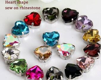 10mm High Quality Sewing on Rhinestone,Heart shape flatback crystal rhinestones with claw 20pcs