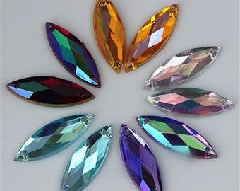 100PCS 7*21mm AB Color Horse eye Acrylic Rhinestones Crystal Flat Back Beads Sew On Stones For Clothing Craft Decoration