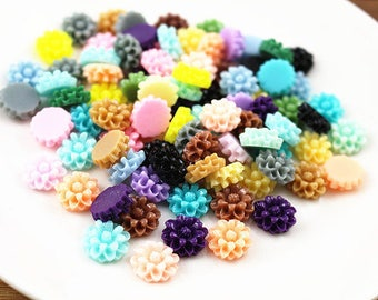 40pcs 12mm Mix Colors Flat back Resin Flower Cabochons Cameo