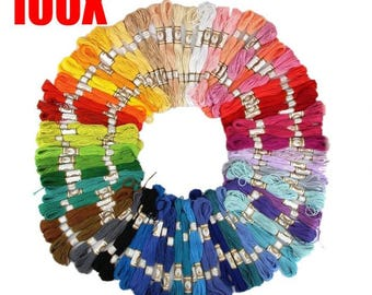 100Pcs Random Color Cross Stitch Cotton Embroidery Thread Floss Sewing Skeins Craft(Random Color ONLY )