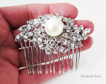 Small Decorative Pearl and Crystal Wedding Hair Comb, Rhinestone and Pearl Hair Jewellery for Wedding, Bridal Ivory Pearl Hair Comb
