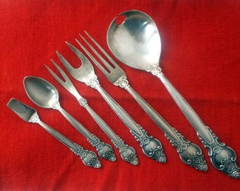 A Set of 6 Serving Spoons and Forks, Nickel Silver, Made in USSR, Vintage Flatware, Soviet Flatware, Soviet Vintage, Soviet Kitchen