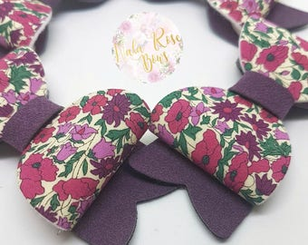 Purple Floral Small Bow
