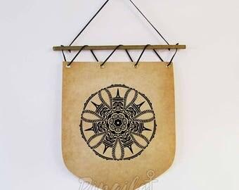 Mandala banner, Mandala Wall haging banner Flag, Sacred geometry wall decor, Mandala spiritual gift, Yoga office decor, Yoga studio decor