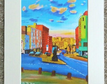 """Limited edition print - Sunset on Broad Lane, Sheffield  - A3, A4 or 7"""" x 5"""" Print of an Original Painting by Bryan John"""