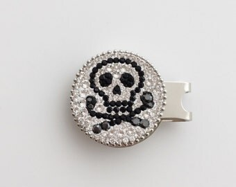 Skull Hat Clip Golf Ball Marker, Magnetic Golf Ball marker, Golf Marker, Skull Marker, Gift For Him, Gift For Dad, Golf Competition, Crystal