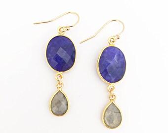 Blue Sapphire and Labradorite Earrings