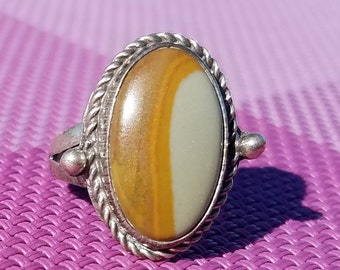 Scenic Jasper ring with silver setting - 124