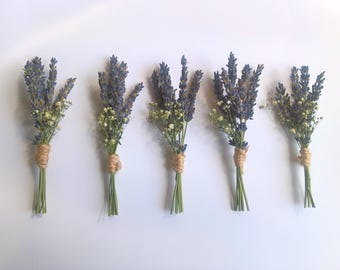 Dried Lavender & Gypsophila Buttonhole Set, boutonniere, rustic wedding, grooms buttonhole, country wedding, natural wedding, wedding party