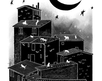 ROOFTOPS AFTER DARK A4 Giclée Fine Art Print on 255gsm archival paper