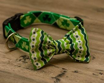 Dog collar with bow tie, bow tie dog collar, doggie bow tie, St Patricks Day dog collar, plaid dog collar, custom dog collar, designer dog