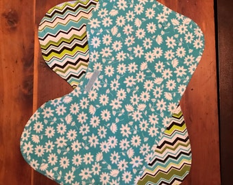 2 green and teal contoured burp cloths
