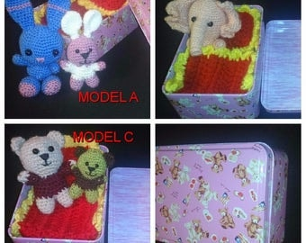 Travel toy Pocket toy Purse toy Soft toy Small Crochet Toy Teddy Wee Bear Bear in a Box Bunny in a Box Elephant in a Box Rainbow Tin House