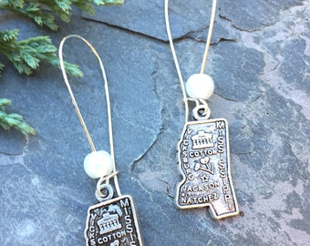 Silver Mississippi State Earrings