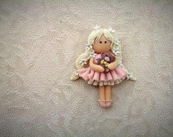 Brooch girl - Handmade Brooch - Brooch doll - Pin girl - Jewelry From Polymer Clay