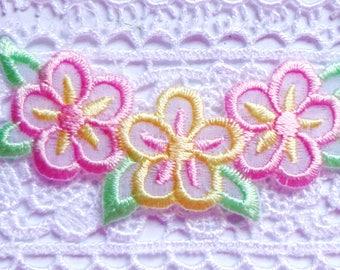 Iron On Patch Applique - Flower Trio Pastel