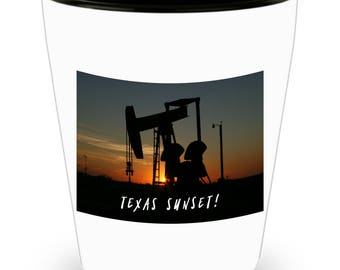 TEXAS Sunset Behind Working Oil Derrick on Cool Ceramic Shot Glass Makes a Perfect Gift for The Texan in Your Life!