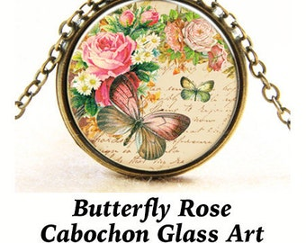 Steampunk PENDANT Cabochon, Butterfly Rose  ** CLEARANCE **