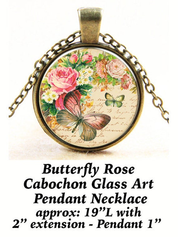 Steampunk Pendant Cabochon, Butterfly Rose  **FREE Shipping with orders of 10 dollars+ **