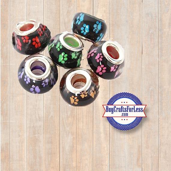 PAW Print Beads, 5 pcs asst'd colors +Discounts & FREE Shipping*