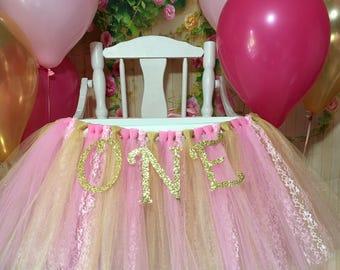 Pink and Gold High Chair Tutu- High Chair Skirt- Highchair tutu- Highchair skirt-Pink and Gold 1st Birthday- Pink and Gold High Chair Tutu