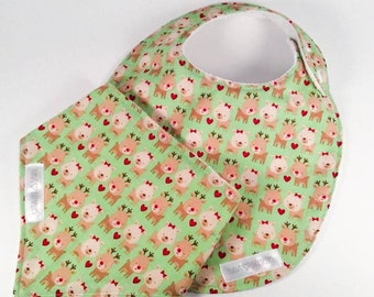 CLEARANCE-all bib and bandana bib - reindeer (green)