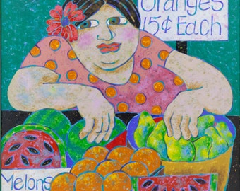 Fruit For Sale - Original acrylic painting on canvasd