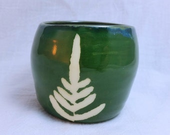 small pottery cup - green fern - handmade pottery
