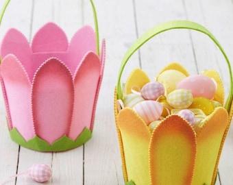 Felt Tulip Flower Easter Basket - Easter Egg Hunt Basket