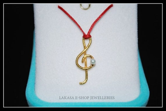 Music Clef Symbol Necklace Sterling Silver Gold-plated Jewelry Lakasa e-shop gifts ideas rock you si her birthday love violin piano musician