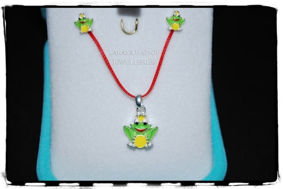 Set Prince Frog Necklace Earrings Sterling Silver White Gold plated Lakasa e-shop Jewelry Kiss your Frog Princess gifts kids best ideas girl